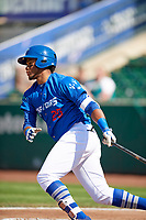 Michael Medina (25) of the Ogden Raptors bats against the Idaho Falls Chukars in Pioneer League action at Lindquist Field on July 2, 2017 in Ogden, Utah. Ogden defeated Idaho Falls 6-5. (Stephen Smith/Four Seam Images)