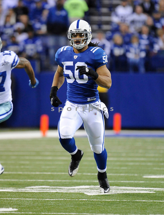 PHILIP WHEELER, of the Indianapolis Colts  in action during the Colts game against the Dallas Cowboys  on December 5, 2010 at Lucas Oil Stadium in Indianapolis, Indiana...Cowboys beat the Colts 38-35 in overtime.