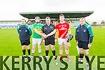 Maurice Corridan Lixnaw and Bobby O'Brien Bruff with Referee Paul Foley in the Munster Club Intermediate Hurling Championship Semi Final at Austin STacj Park on Sunday.