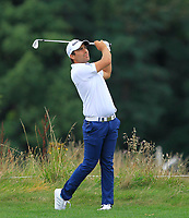 Romain Langasque (FRA) on the 5th fairway during Round 1 of the D+D Real Czech Masters at the Albatross Golf Resort, Prague, Czech Rep. 31/08/2017<br /> Picture: Golffile | Thos Caffrey<br /> <br /> <br /> All photo usage must carry mandatory copyright credit     (&copy; Golffile | Thos Caffrey)