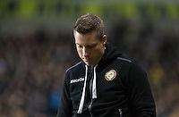 A disappointed Millwall Manager Neil Harris as his team lose the Southern final during the Johnstone's Paint Trophy Southern Final 2nd Leg match between Oxford United and Millwall at the Kassam Stadium, Oxford, England on 2 February 2016. Photo by Andy Rowland / PRiME Media Images.