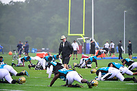 August 8, 2017: Jacksonville Jaguars executive vice president of football operations Tom Coughlin watches the team warm up at the New England Patriots training camp held at Gillette Stadium, in Foxborough, Massachusetts.  The Patriots are hosting the Jaguars at camp leading up to their preseason game. Eric Canha/CSM