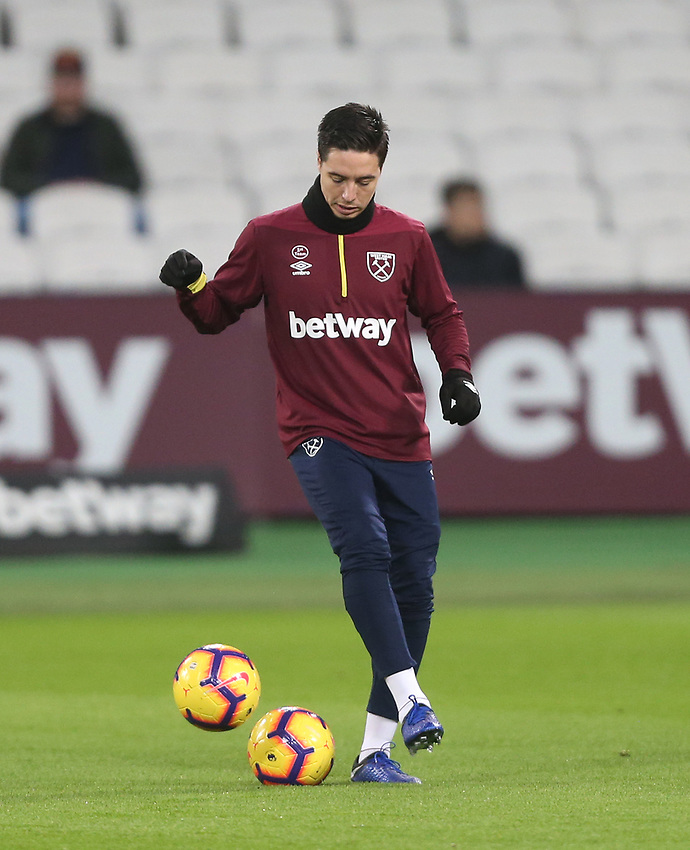 West Ham United's Samir Nasri<br /> <br /> Photographer Rob Newell/CameraSport<br /> <br /> The Premier League - West Ham United v Brighton and Hove Albion - Wednesday 2nd January 2019 - London Stadium - London<br /> <br /> World Copyright © 2019 CameraSport. All rights reserved. 43 Linden Ave. Countesthorpe. Leicester. England. LE8 5PG - Tel: +44 (0) 116 277 4147 - admin@camerasport.com - www.camerasport.com