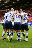 Preston North End celebrates during Charlton Athletic vs Preston North End, Sky Bet EFL Championship Football at The Valley on 3rd November 2019