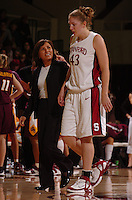 21 January 2006: Marcella Shorty, trainer, and Kristen Newlin during Stanford's 84-78 win against Arizona State Sun Devils at Maples Pavilion in Stanford, CA.