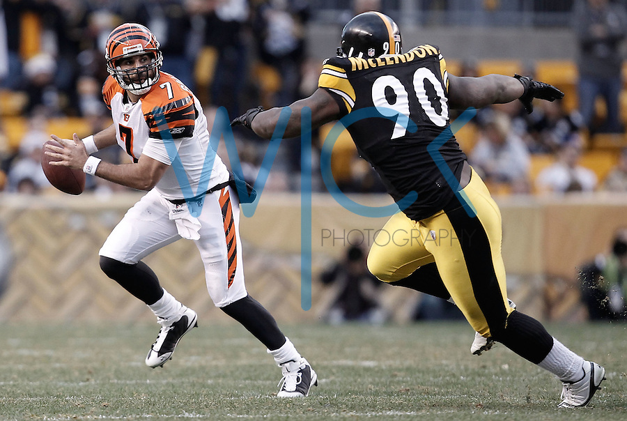 PITTSBURGH, PA - DECEMBER 04:  Bruce Gradkowski #7 of the Cincinnati Bengals is hurried by Steve McLendon #90 of the Pittsburgh Steelers in the second half during the game on December 4, 2011 at Heinz Field in Pittsburgh, Pennsylvania.  (Photo by Jared Wickerham/Getty Images)