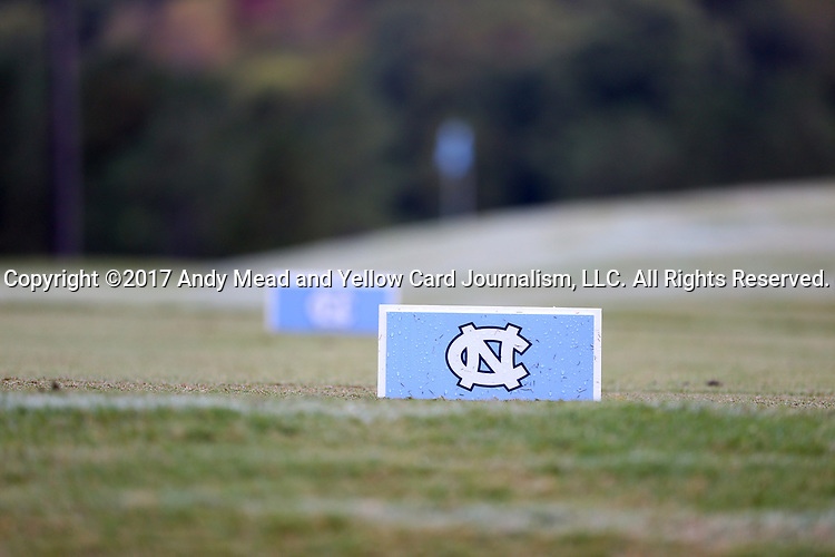 CHAPEL HILL, NC - OCTOBER 07: Tee placards on the seventeenth tee. The first round of the Tar Heel Intercollegiate Men's Golf Tournament was held on October 7, 2017, at the UNC Finley Golf Course in Chapel Hill, NC.