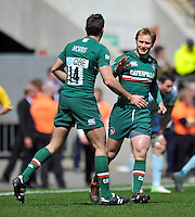 Niall Morris is congratulated by Matthew Tait on his try. Aviva Premiership Final, between Leicester Tigers and Northampton Saints on May 25, 2013 at Twickenham Stadium in London, England. Photo by: Patrick Khachfe / Onside Images