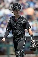 Louisville Cardinals catcher Henry Davis (32) during Game 3 of the NCAA College World Series against the Vanderbilt Commodores on June 16, 2019 at TD Ameritrade Park in Omaha, Nebraska. Vanderbilt defeated Louisville 3-1. (Andrew Woolley/Four Seam Images)