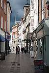 Historic buildings in Little Brittox shopping street, Devizes, Wiltshire, England