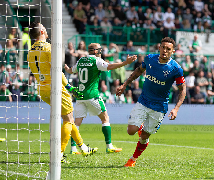 13.05.2018 Hibs v Rangers: James Tavernier celebrates his goal
