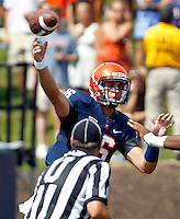 Virginia quarterback Michael Rocco (16) throws the ball during an NCAA college football game against Penn State in Charlottesville, Va. Virginia defeated Penn State 17-16.