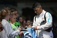 Sergio Aguero of Manchester City arrives during the Swansea City FC v Manchester City Premier League game at the Liberty Stadium, Swansea, Wales, UK, Sunday 15 May 2016