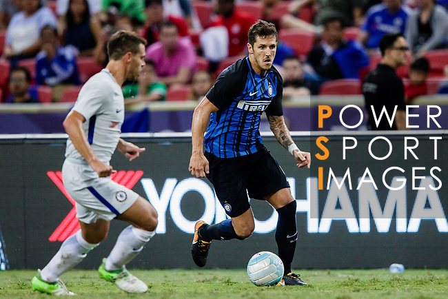 FC Internazionale Forward Stevan Jovetic (L) plays against Chelsea Defender Cesar Azpilicueta (L) during the International Champions Cup 2017 match between FC Internazionale and Chelsea FC on July 29, 2017 in Singapore. Photo by Marcio Rodrigo Machado / Power Sport Images