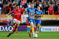 Bryn Morris of Shrewsbury in possession as Charlton's Ahmed Kashi gets ready to make a challenge during Charlton Athletic vs Shrewsbury Town, Sky Bet EFL League 1 Play-Off Football at The Valley on 10th May 2018