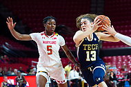College Park, MD - NOV 29, 2017: Georgia Tech Yellow Jackets forward Lorela Cubaj (13) splits Maryland defenders on her way to the basket during ACC/Big Ten Challenge game between Gerogia Tech and the No. 7 ranked Maryland Terrapins. Maryland defeated The Yellow Jackets 67-54 at the XFINITY Center in College Park, MD.  (Photo by Phil Peters/Media Images International)