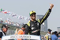 March 17, 2019: Daniel Ricciardo (AUS) #3 from the Renault F1 Team waves to the crowd during the drivers parade prior to the start of the 2019 Australian Formula One Grand Prix at Albert Park, Melbourne, Australia. Photo Sydney Low