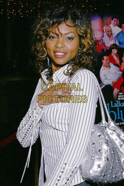 TARAJI HENSON.Lackawanna Blues - HBO Screening held at The Directors Guild of America. West Holllywood, California..Photo Credit: Zach Lipp/AdMedia.February 3rd, 2005.half length striped shirt silver metallic purse bag lace up sleeves.www.capitalpictures.com.sales@capitalpictures.com.© Capital Pictures.