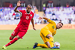 Josh Risdon of Australia (R) fights for the ball with Yaseen Mahmoud Bakheet of Jordan during the AFC Asian Cup UAE 2019 Group B match between Australia (AUS) and Jordan (JOR) at Hazza Bin Zayed Stadium on 06 January 2019 in Al Ain, United Arab Emirates. Photo by Marcio Rodrigo Machado / Power Sport Images