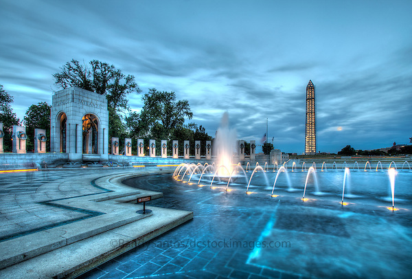 World War II Memorial Washington Monument Washington DC Photography Washington DC Art - - Framed Prints - Wall Murals - Metal Prints - Aluminum Prints - Canvas Prints - Fine Art Prints Washington DC Landmarks Monuments Architecture