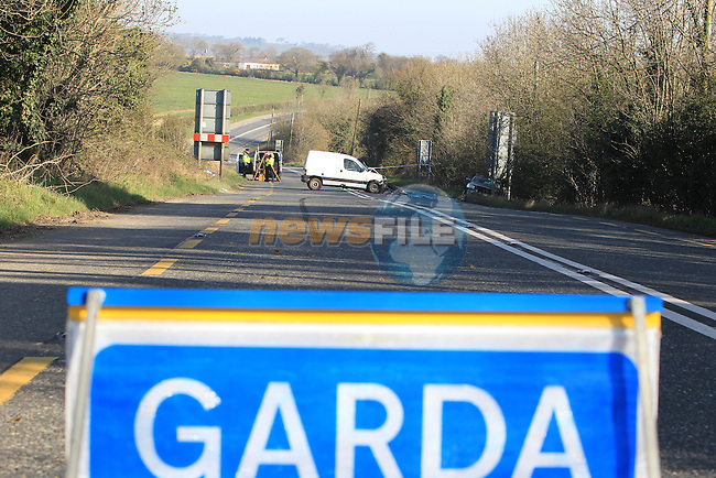 The scene of the fatal road traffic accident on the N2 between Slane and Collon, the road was closed for a number of hours to Allow Garda CSI team the examine the scene..Picture Fran Caffrey www.newsfile.ie