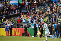 Seattle, WA - Tuesday June 14, 2016: Argentina midfielder Lionel Messi (10) enters the pitch for the second half of a Copa America Centenario Group D match between Argentina (ARG) and Bolivia (BOL) at CenturyLink Field