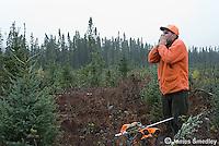 Hunter making a moose call