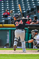 Ricardo Valenzuela (24) of the El Paso Chihuahuas at bat against the Salt Lake Bees in Pacific Coast League action at Smith's Ballpark on April 24, 2016 in Salt Lake City, Utah. This was Game 2 of a double-header.  Salt Lake defeated El Paso 6-5. (Stephen Smith/Four Seam Images)