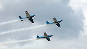 Aerostars YAK-50 display team at the Farnborough International Airshow .