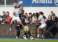 Jonathan Joseph of Bath Rugby in action with Sean Maitland of Saracens and Semesa Rokoduguni of Bath Rugby (R) during the Aviva Premiership match between Saracens and Bath Rugby at Allianz Park, Hendon, England on 26 March 2017. Photo by Stewart  Wright  / PRiME Media Images.