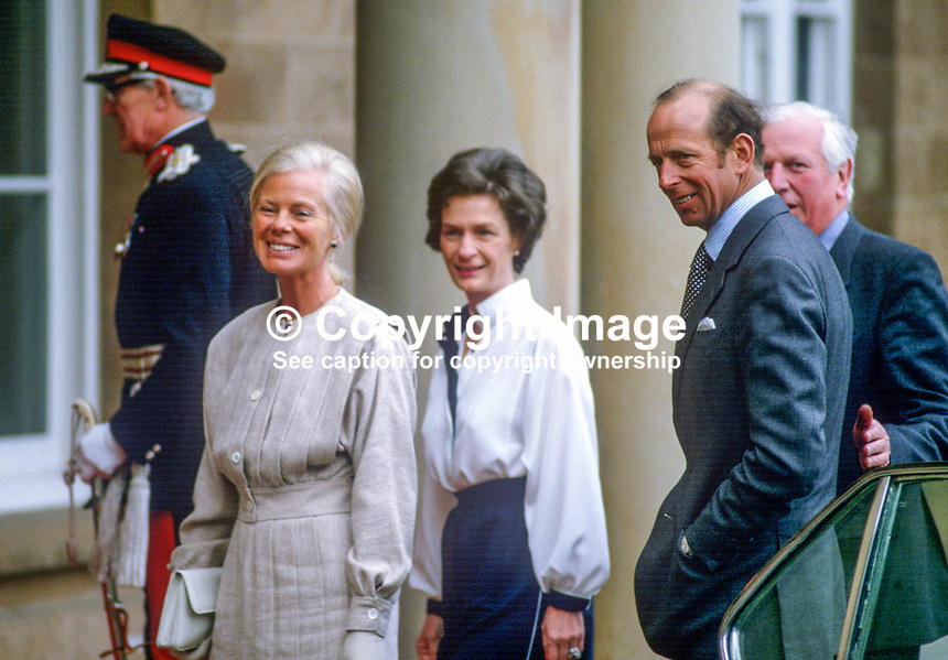 Duchess of Kent, accompanied by the Duke of Kent, are welcomed by Jim Prior, Secretary of State for N Ireland, and his wife Jane Prior on their arrival at Hillsborough Castle, N Ireland, during the duchess's April 3 and 4, 1984 visit to the Province. 198404030044p..Copyright Image from Victor Patterson, 54 Dorchester Park, Belfast, UK, BT9 6RJ..Tel: +44 28 9066 1296.Mob: +44 7802 353836.Voicemail +44 20 8816 7153.Skype: victorpattersonbelfast.Email: victorpatterson@me.com.Email: victorpatterson@ireland.com (back-up)..IMPORTANT: If you wish to use this image or any other of my images please go to www.victorpatterson.com and click on the Terms & Conditions. Then contact me by email or phone with the reference number(s) of the image(s) concerned.