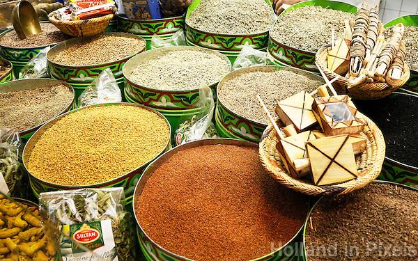 Nederland Beverwijk 2017. De Bazaar in Beverwijk. De Oosterse Markt. Marokkaanse kruiden.       Foto Berlinda van Dam / Hollandse Hoogte