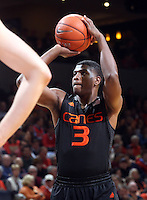 Miami forward Anthony Lawrence Jr. (3) during the game Tuesday, Jan. 12, 2016 in Charlottesville, Va. Virginia defeated Miami 66-58. Photo/Andrew Shurtleff