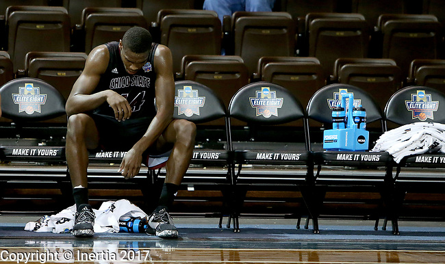 SIOUX FALLS, SD: MARCH 22: Isaiah Ellis #44 from Chico State hangs his head at the end of the bench near the end of their game against Lincoln Memorial at the Men's Division II Basketball Championship Tournament on March 22, 2017 at the Sanford Pentagon in Sioux Falls, SD. Chico State fell to Lincoln Memorial 74-61. (Photo by Dave Eggen/Inertia)