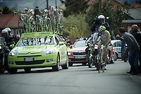 Liege-Bastogne-Liege 2012.98th edition..Vincenzo Nibali leading up Cote de Saint-Nicolas