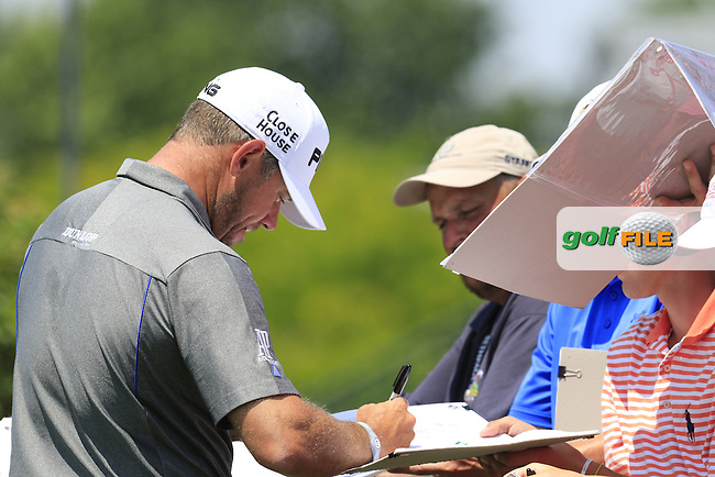 Lee Westwood (ENG) signs autographs for fans during Wednesday's Practice Day of the 2016 U.S. Open Championship held at Oakmont Country Club, Oakmont, Pittsburgh, Pennsylvania, United States of America. 15th June 2016.<br /> Picture: Eoin Clarke | Golffile<br /> <br /> <br /> All photos usage must carry mandatory copyright credit (&copy; Golffile | Eoin Clarke)