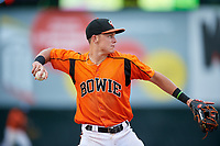 Bowie Baysox third baseman Ryan Mountcastle (4) throws to first base during the first game of a doubleheader against the Trenton Thunder on June 13, 2018 at Prince George's Stadium in Bowie, Maryland.  Trenton defeated Bowie 4-3.  (Mike Janes/Four Seam Images)