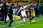 09.03.2019, Signal Iduna Park, Dortmund, GER, 1.FBL, Borussia Dortmund vs VfB Stuttgart, DFL REGULATIONS PROHIBIT ANY USE OF PHOTOGRAPHS AS IMAGE SEQUENCES AND/OR QUASI-VIDEO<br /> <br /> im Bild   picture shows:<br /> Gonzalo Castro (VfB Stuttgart #8) gegen Raphael Guerreiro (Borussia Dortmund #13), <br /> <br /> Foto &copy; nordphoto / Rauch
