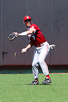 AUSTIN, TEXAS-March 6, 2011:  Tyler Gaffney of Stanford fields a hit during the game against the Texas Longhorns, at Disch-Falk field in Austin, Texas.  Texas defeated Stanford 4-2.