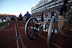 The Fremont Cannon on the sidelines of a rivalry NCAA college football game between UNLV and Nevada, in Reno, Nev., on Saturday, Oct. 26, 2013.<br /> Photo by Cathleen Allison