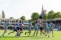 Charlie Ewels of Bath Rugby wins the ball at a lineout. Aviva Premiership match, between Bath Rugby and Newcastle Falcons on September 23, 2017 at the Recreation Ground in Bath, England. Photo by: Patrick Khachfe / Onside Images