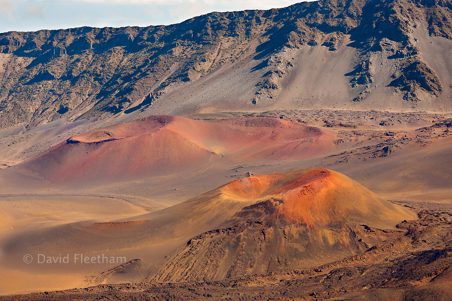 Pu'u o Pele and Pu'u o Maui cinder cones in Haleakala National Park, Maui's dormant volcano, Hawaii. Sliding sands trail is clearly pictured behind the cones.