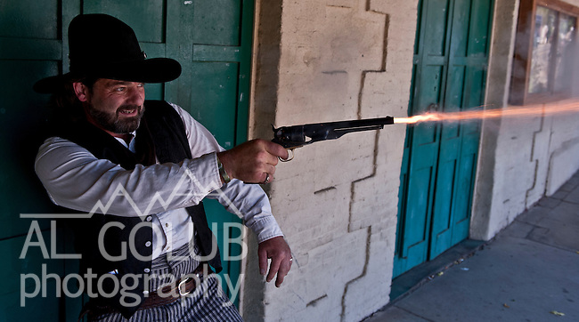 Coulterville, California, July 03, 2010.Coulterville Claim Jumpers.Gun fighter: Panama Red..Photo by Al Golub/Golub Photography