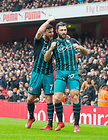 Southampton's Charlie Austin and Southampton's Shane Long during the EPL - Premier League match between Arsenal and Southampton at the Emirates Stadium, London, England on 8 April 2018. Photo by Andrew Aleksiejczuk / PRiME Media Images.