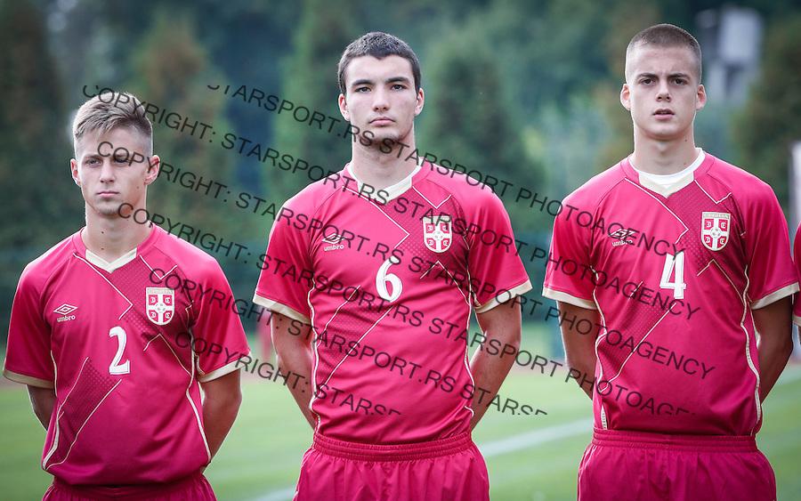 Fudbal Soccer<br /> International Friendly-Prijateljski mec<br /> Srbija U17 v Belorusiaj U17<br /> from left  Nikola Simonovic Jovan Pavlovic Ivan Ilic<br /> Stara Pazova, 20.09.2016<br /> foto: Srdjan Stevanovic/Starsportphoto &copy;