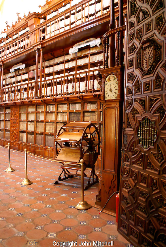 Multiple book reader or lectern and shelving,  Biblioteca Palafoxiana library in the city of Puebla, Mexico. The historical center of Puebla is a UNESCO World Heritage Site.