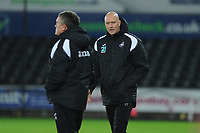 Gary Richards and Cameron Toshack Coachs of Swansea City U21 talk during the Checkatrade Trophy match between Swansea City U21 and Bristol Rovers at the Liberty Stadium in Swansea, Wales, UK. Wednesday 05 December 2018