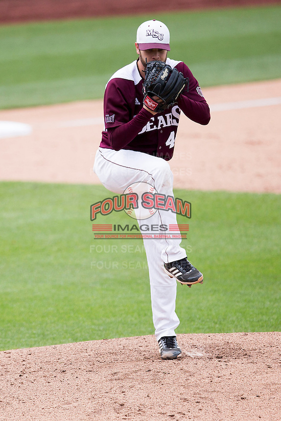 Andy Cheray #44 of the Missouri State Bears winds up during a game against the Wichita State Shockers at Hammons Field on May 5, 2013 in Springfield, Missouri. (David Welker/Four Seam Images)
