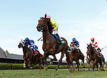 First time by Hizeem (no. 10) wins Race 8, Sep. 1, 2018 at the Saratoga Race Course, Saratoga Springs, NY.  Ridden by Javier Castellano and trained by Chad Brown, Hizeem was placed first after a steward's inquiry and jocky's objection.  Stewards concluded that the first and second place finishers (Final Frontier, no. 8, and Strike Me Down, no. 4,  both interfered with Hizeem who ran between the top two in deep stretch.  (Bruce Dudek/Eclipse Sportswire)
