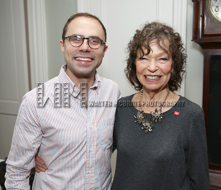 Andrew Lazarow and Gretchen Cryer during the DGF Salon with Lisa Kron at the home of Gretchen Cryer on May 2, 2016 in New York City.